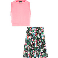 Girls pink crop top tropical skirt outfit