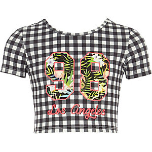 Girls gingham print 'Los Angeles' T-shirt