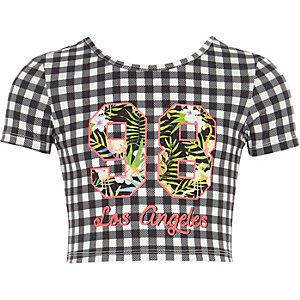 T-shirt imprimé vichy «Los Angeles» pour fille