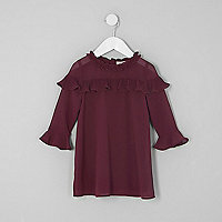 Mini girls burgundy frill yoke shift dress