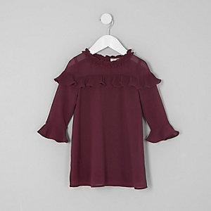Mini - Bordeauxrode jurk met ruches voor meisjes