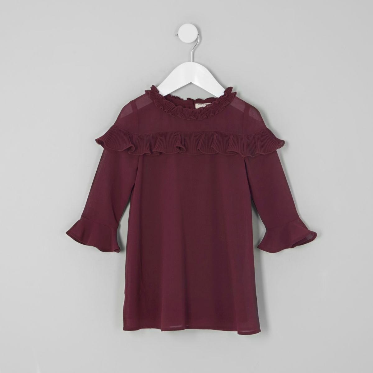 Mini girls burgundy frill yoke shift dress