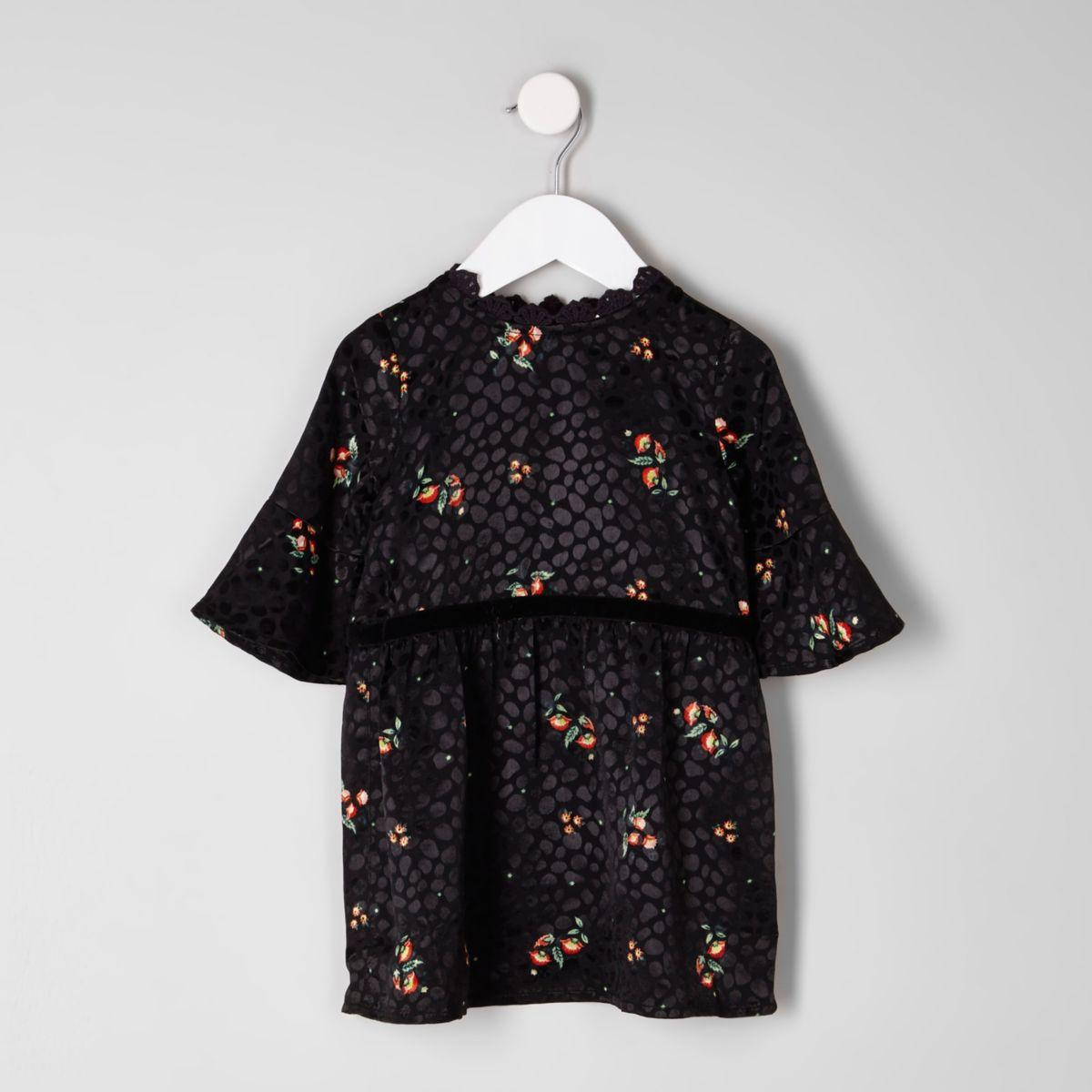 Mini girls floral print devore babydoll dress