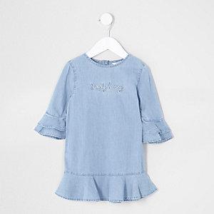 Mini - Blauwe denim jurk met 'Simply lovely'-print voor meisjes