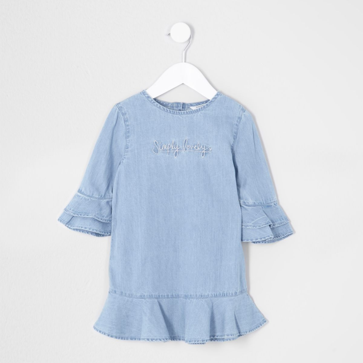 Mini girls blue 'simply lovely' denim dress