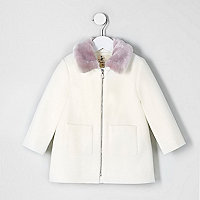 Mini girls cream faux fur collar swing coat