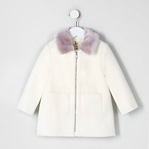 Mini girls cream faux fur collar swing coat