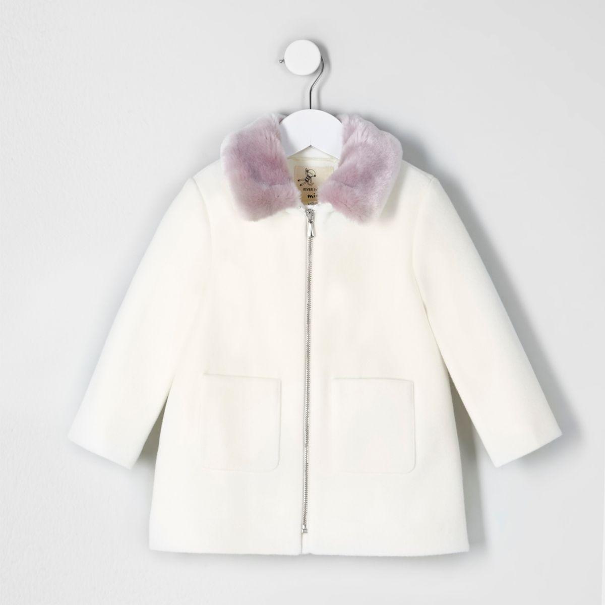 Mini girls cream faux fur collar swing coat - Baby Girls Coats ...