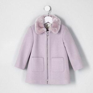 Mini girls purple faux fur collar swing coat