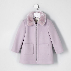 Mini girls purple faux fur collar swing coat