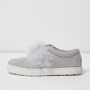 Girls grey feather slip on plimsolls