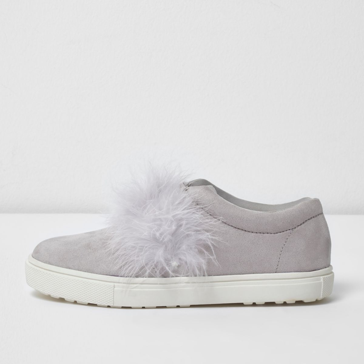 Girls grey feather slip on plimsolls
