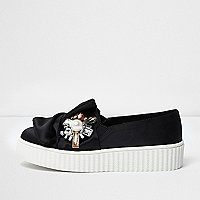 Girls black satin embellished plimsolls