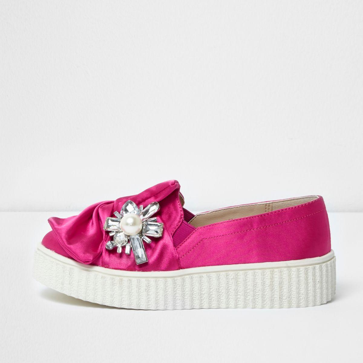 Girls pink satin embellished plimsolls
