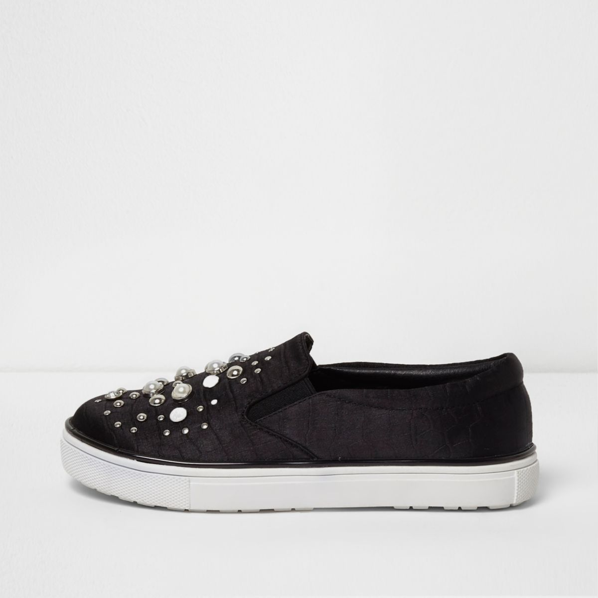 Girls black pearl embellished plimsolls
