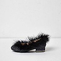 Girls black glitter feather trim shoes