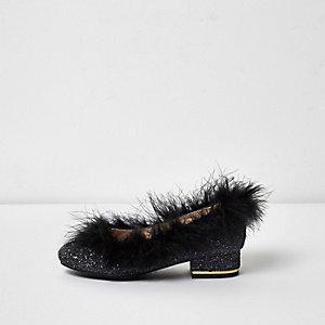 Girls black glitter feather trim shoes