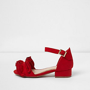 Girls red ruffle block heel sandals