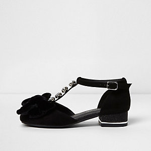 Girls black velvet bow T bar gliiter sandals