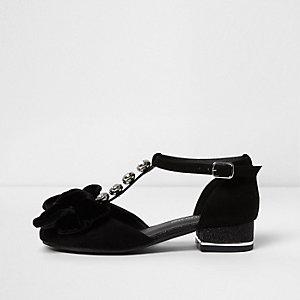 Zwart fluwelen sandalen met strik en T-bandje voor meisjes