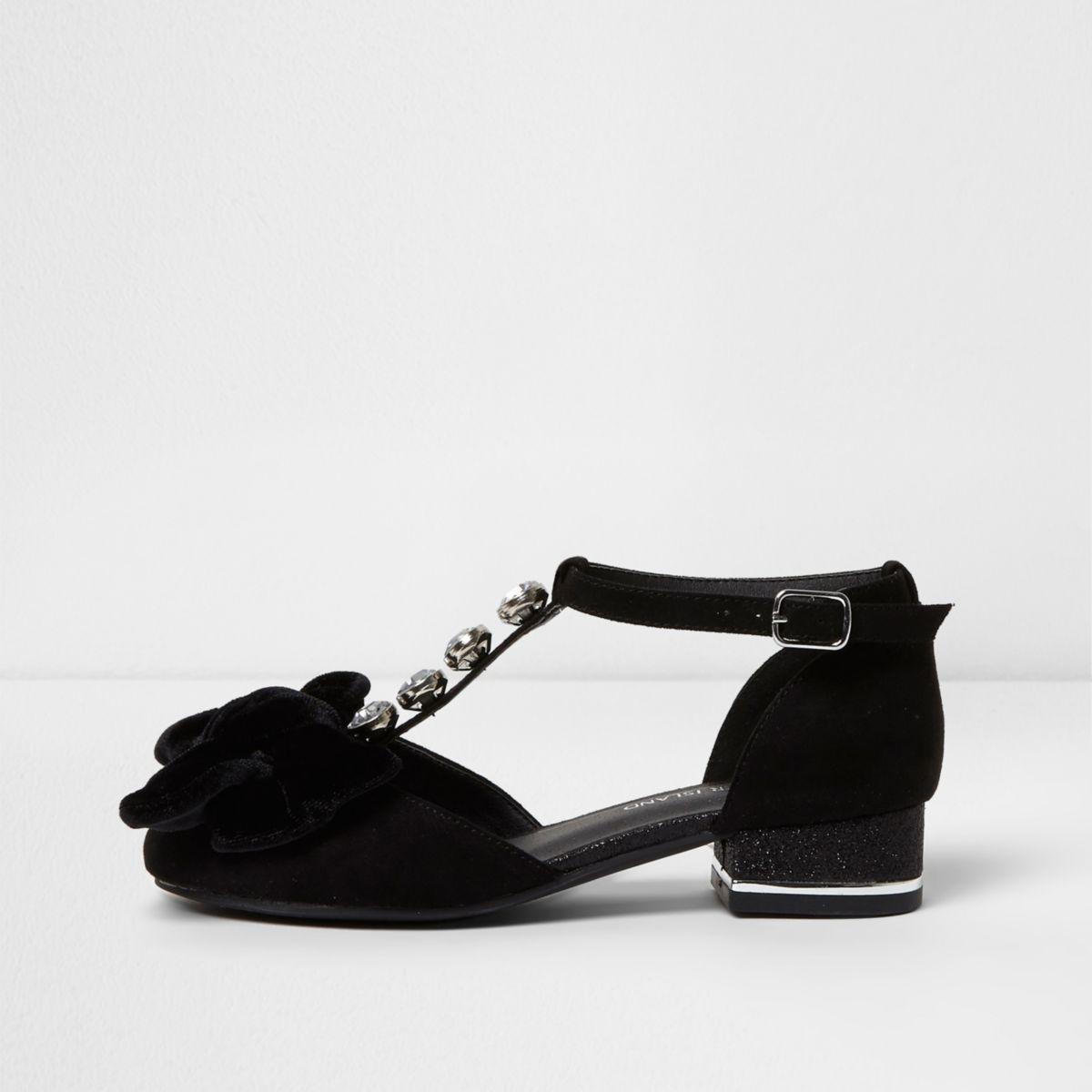 Girls black velvet bow T bar gliiter sandals