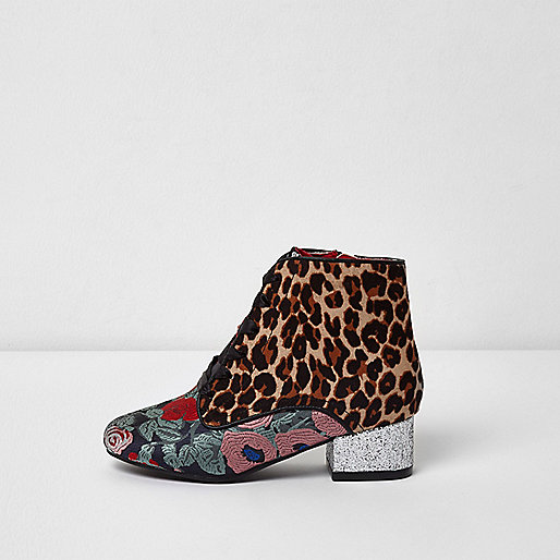 Girls leopard print and floral lace-up boots