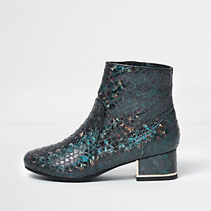 Girls turquoise mermaid block heel boots