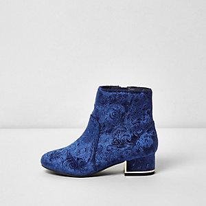 Bottes en velours bleu marine texturé pour fille