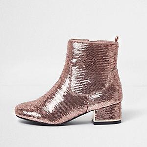 Girls pink metallic sequin block heel boots
