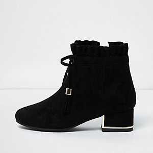 Girls black ruffle top block heel ankle boots