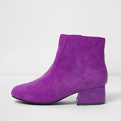 Girls purple flared heel ankle boots