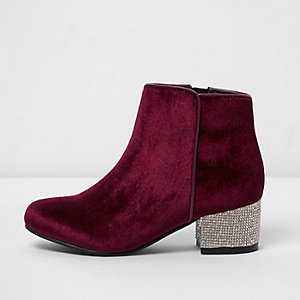 Girls red velvet rhinestone heel ankle boots