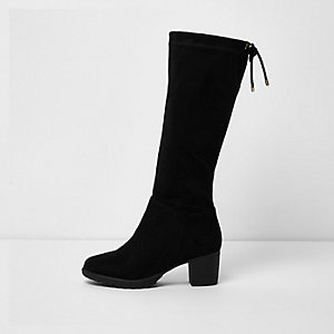 Girls black knee high chunky block heel boots
