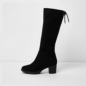Zwarte laarzen tot aan de knie met dikke zool en blokhak voor meisjes