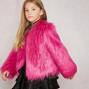 RI Studio - Roze jas van imitatiebont en broche voor meisjes
