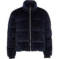 Girls navy velvet puffer coat