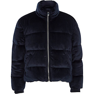 Girls navy velvet puffer coat