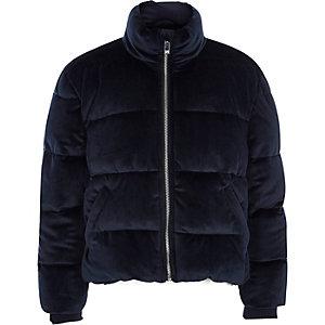 Marineblauwe gewatteerde fluwelen jas voor meisjes