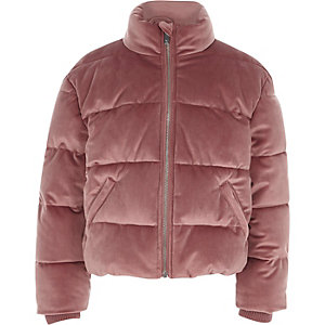 Girls pink velvet puffer coat