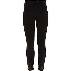 Zwarte legging met gehaakte zoom voor meisjes