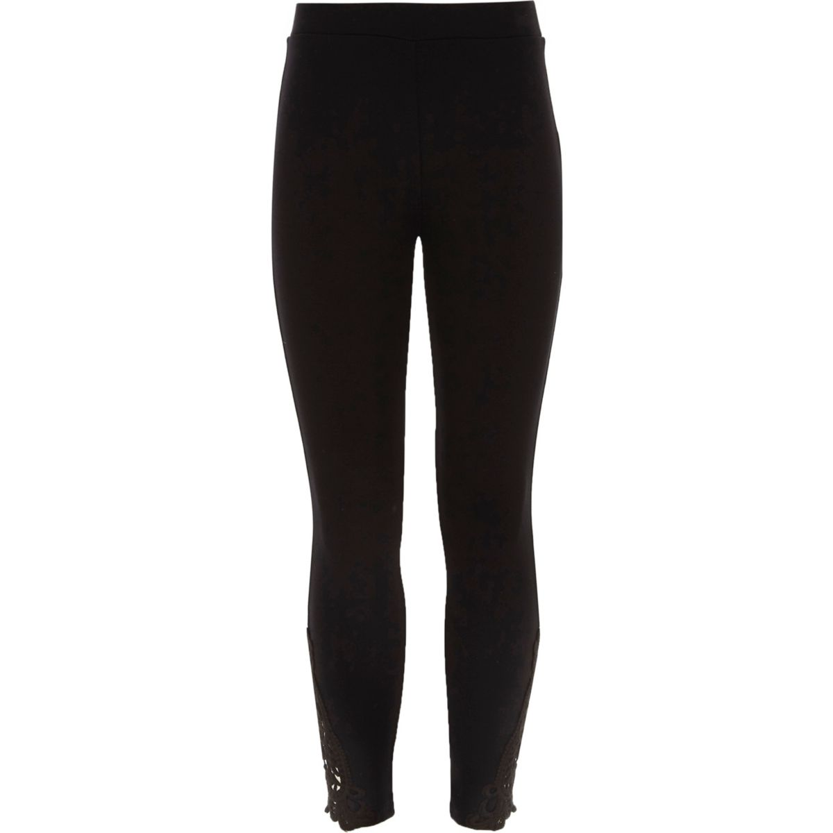 Girls Black Crochet Hem Leggings by River Island