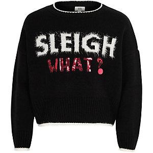 Pull de Noël «sleigh what» noir pour fille