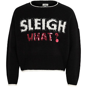 Zwarte pullover met 'Sleigh what'-print voor meisjes