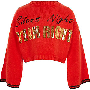 Girls red 'silent night' Christmas jumper