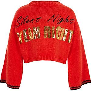 Rode gebreide kersttrui met 'Silent night'-print voor meisjes