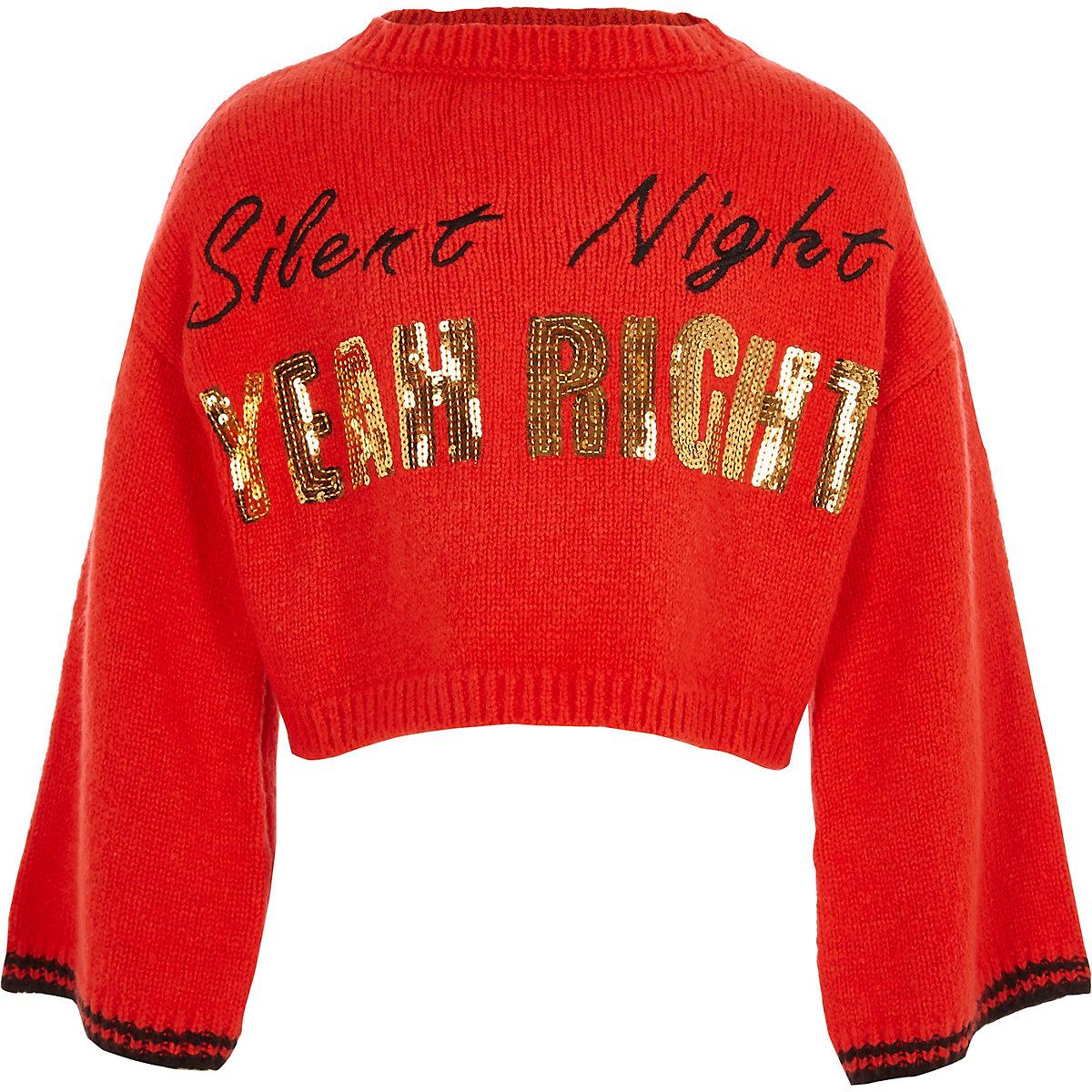 Kersttrui Meisje.Rode Gebreide Kersttrui Met Silent Night Print Voor Meisjes Tops