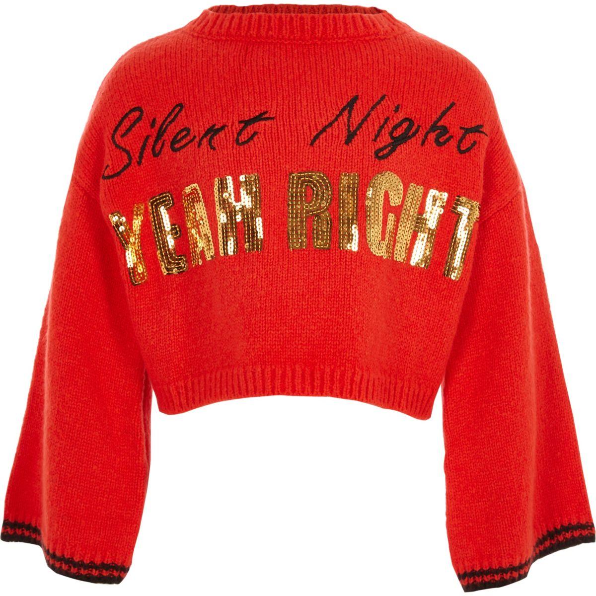 Pull de Noël «silent night» rouge pour fille