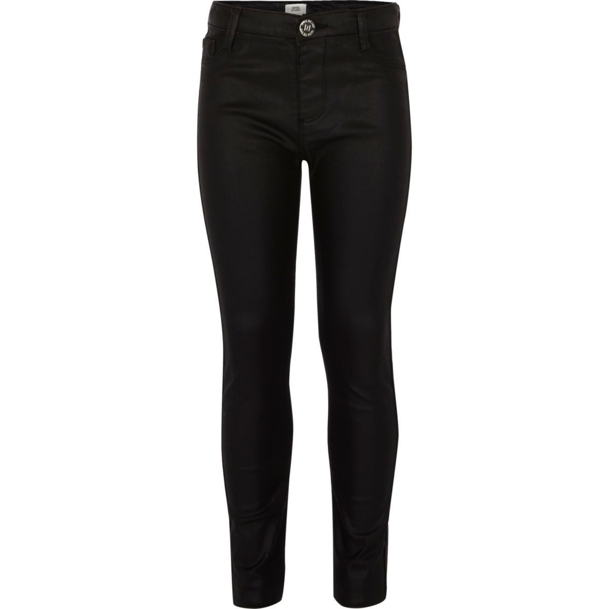 Girls black wax coated Molly jeggings
