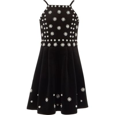 River Island Zwarte fluwelen jurk met parels voor meisjes