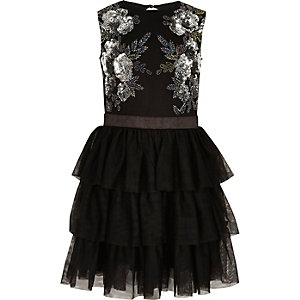 Girls black mesh bead embellished prom dress
